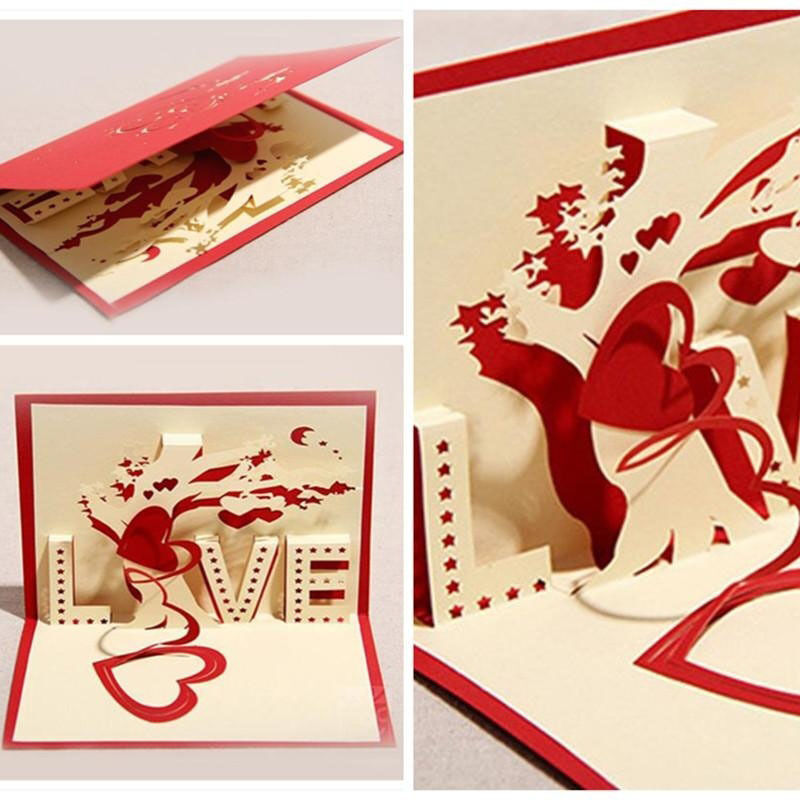 3d Greeting Cards Paper Cut Folding Gift Card Postcards