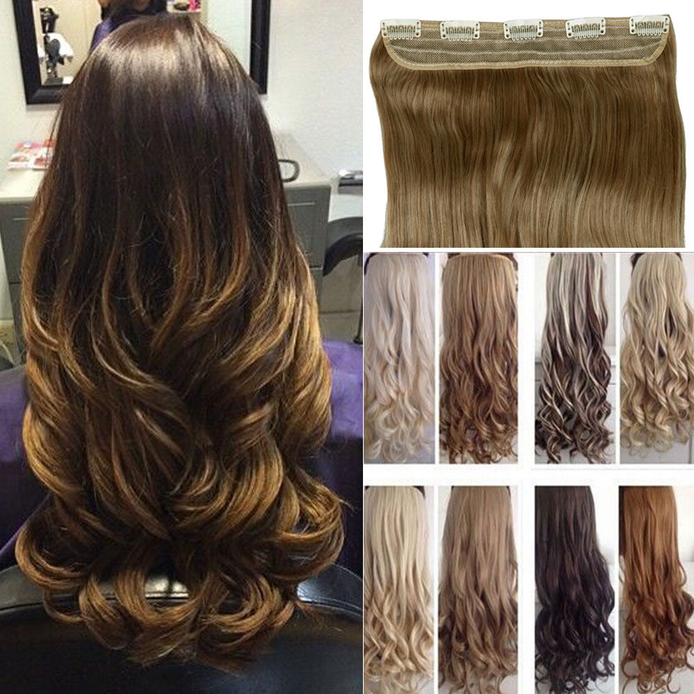 17 30 Quot 100 Natural 3 4 Full Head Clip In Hair Extensions Curly Brown As Human Ebay