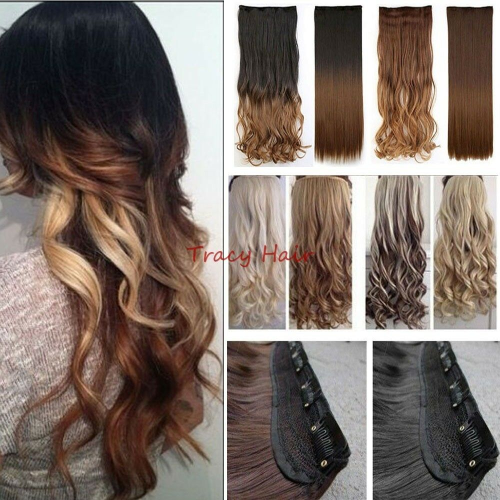 Natural as human Hair Extensions Ombre Full Head Clip in ...