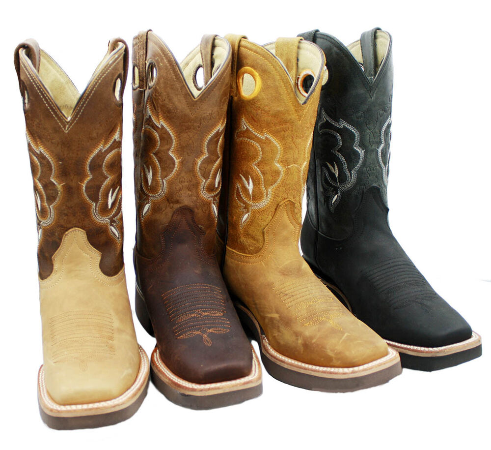 s genuine leather rodeo western cowboy boots square