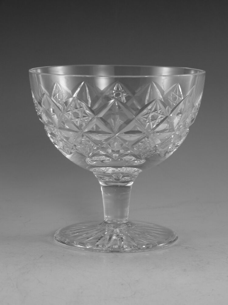 Tudor crystal mruk39 cut short stem champagne glass glasses 3 3 8 ebay - Short stemmed wine glasses uk ...