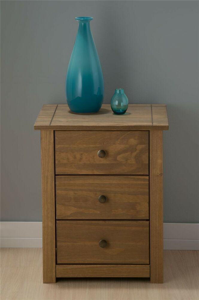 Mexico 3 Drawer Bedside Cabinet Table Corona Mexican Pine