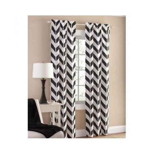 Chevron Curtains In Living Room Window Curtains And Drapes For Living Room  Bedroom Black .