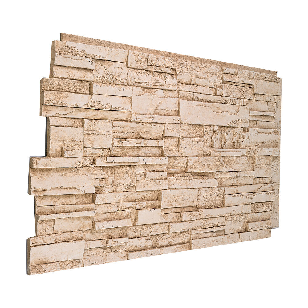 Polyurethane Stone Panels : Solid color faux stacked stone wall panel made in usa