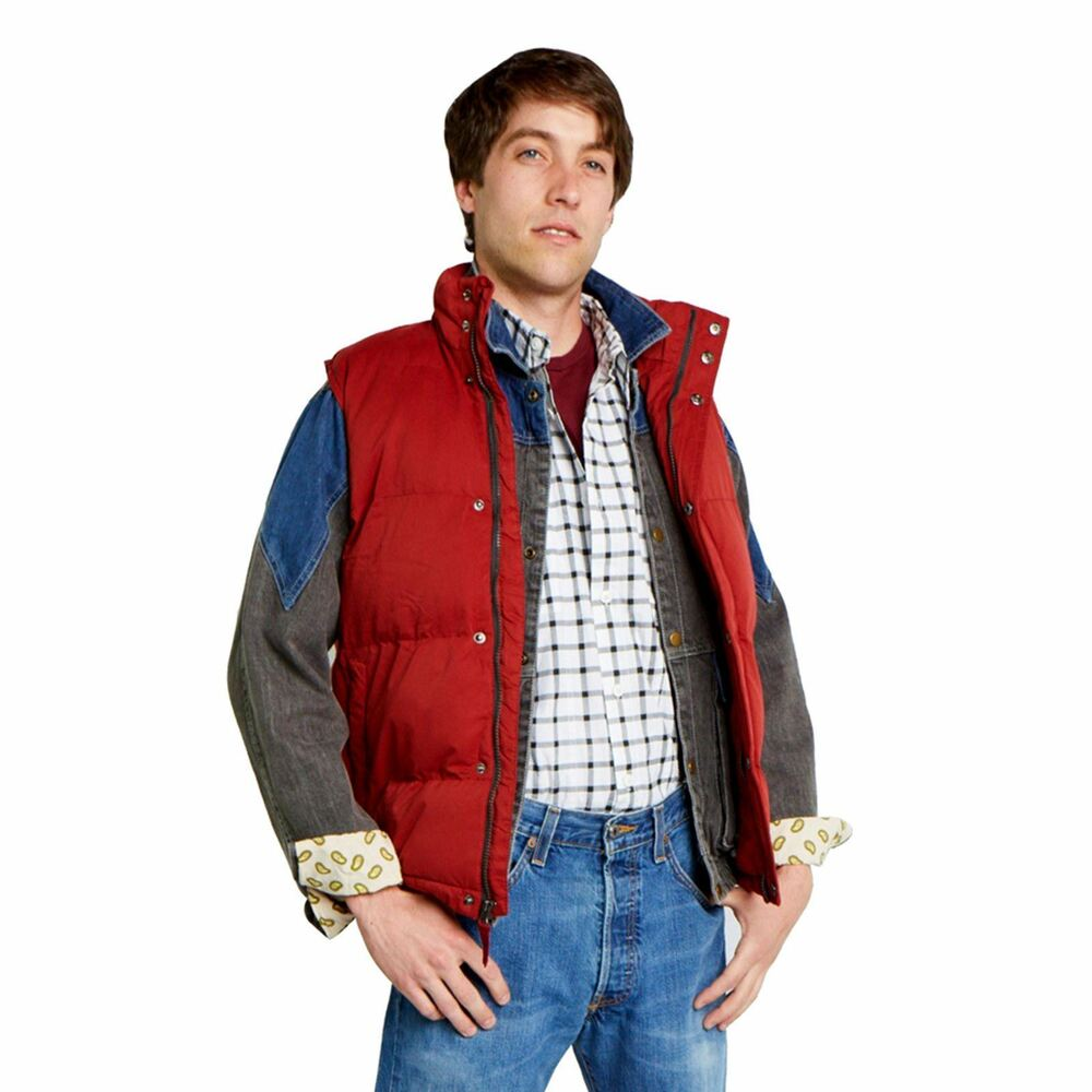 puffer vest marty mcfly back to the future red rust costume adult ebay. Black Bedroom Furniture Sets. Home Design Ideas