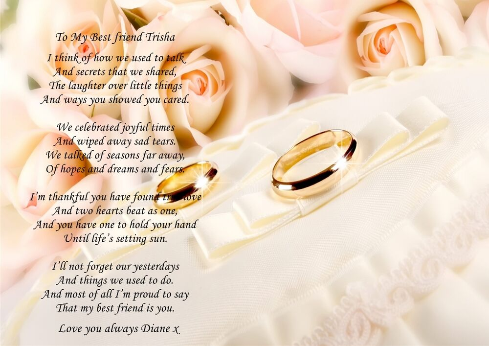 Gift For Best Friend On Wedding Day: PERSONALISED A4 POEM TO MY BEST FRIEND ON HER WEDDING DAY