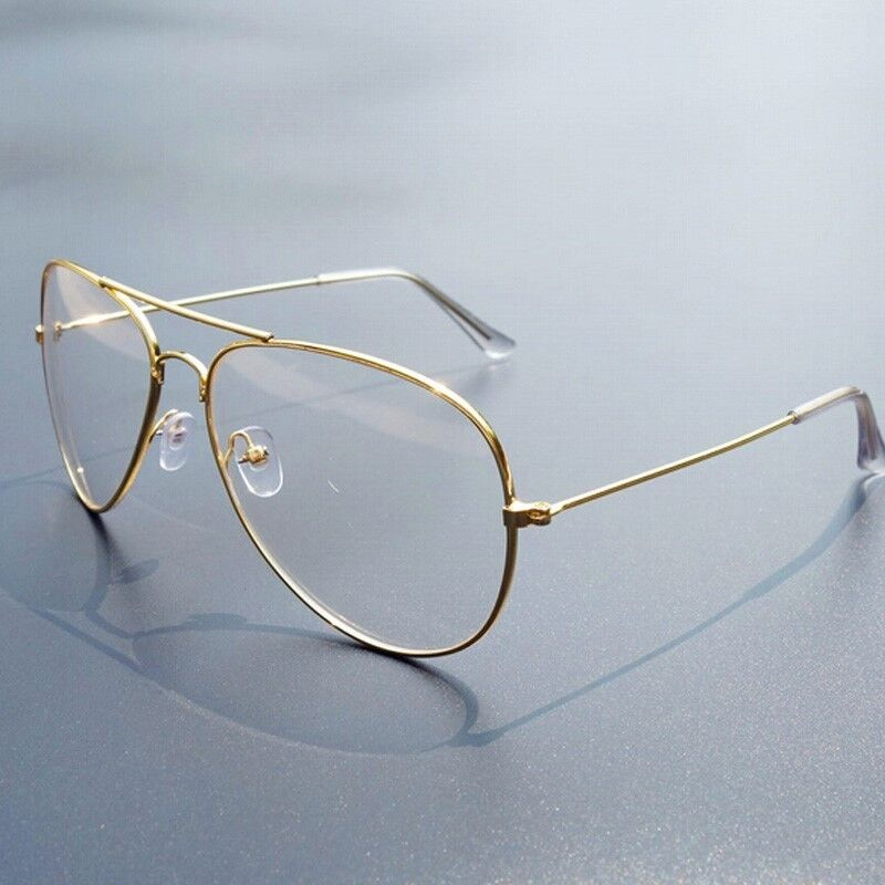 Real Gold Glasses Frames : Unisex Gold Metal Frame AVIATOR Clear Lens Glasses Mens ...