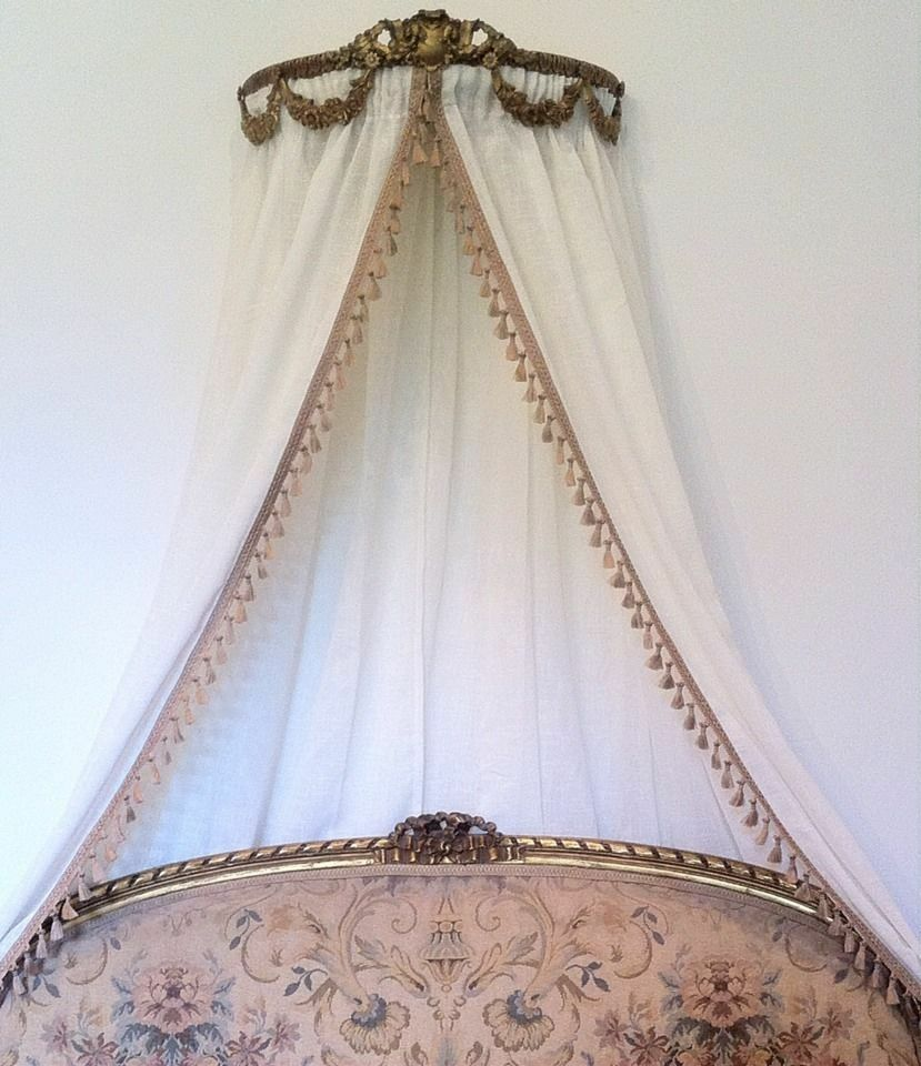 Antique Ornate Ciel De Lit Gold Bed French  Italian Crown