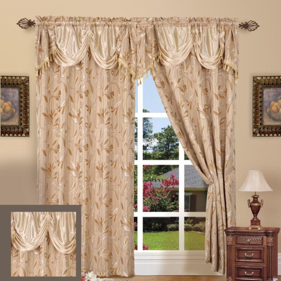 Jacquard Curtain Panel 55 X 84 With Attached Valance 18 Set Of 2 Beige Ebay