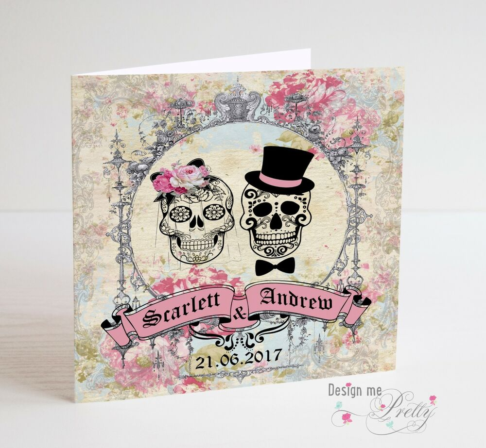 Personalised Sugar Skull Wedding Card Vintage Day Of The Dead