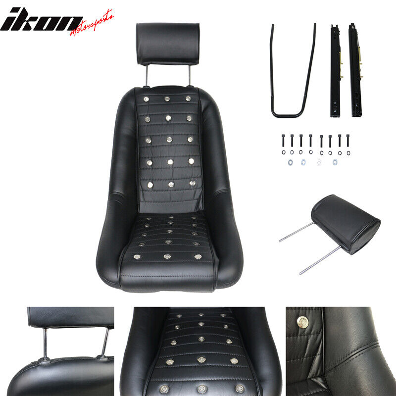 Black Pu Faux Leather Classic Bucket Seat With Sliders Mid Sized 1967 Rambler Rebel Wiring Diagram 842961105970 Ebay