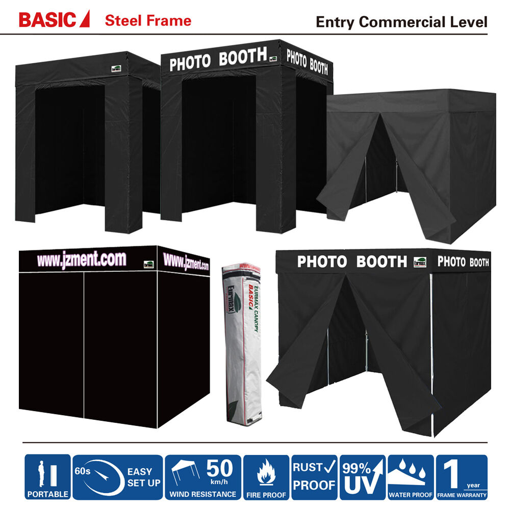 Pop Up Fortable Black Photo Booth Franchise Canopy Tent W