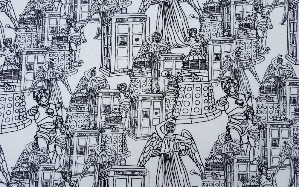 Dr who tardis weeping angel print cotton spandex fabric Coloring book fabric by the yard