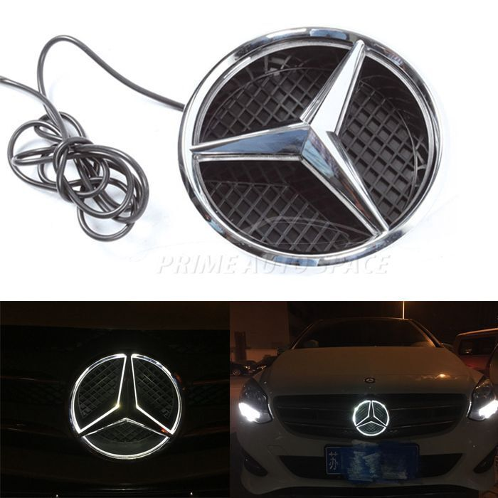 Illuminated led light front grille emblem badge fo for Mercedes benz insignia