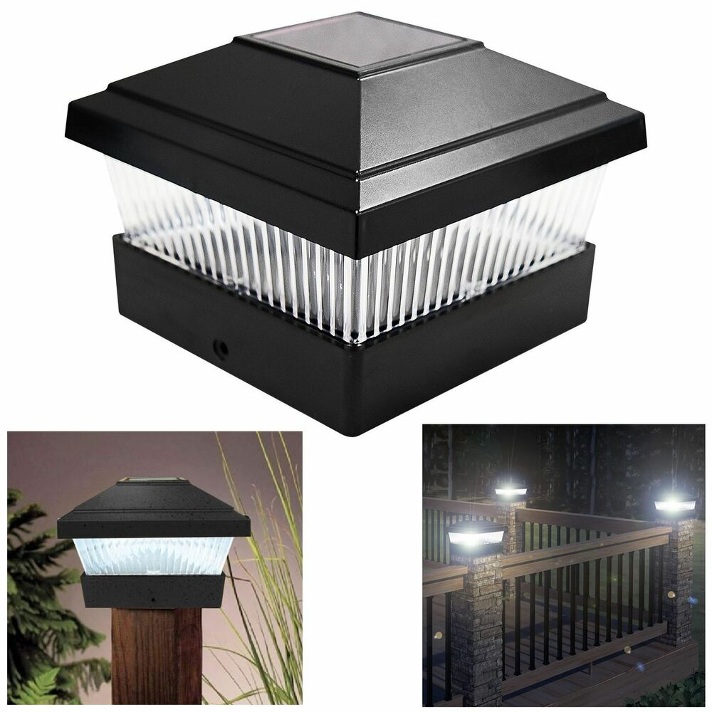 solar led powered light garden deck cap outdoor decking. Black Bedroom Furniture Sets. Home Design Ideas