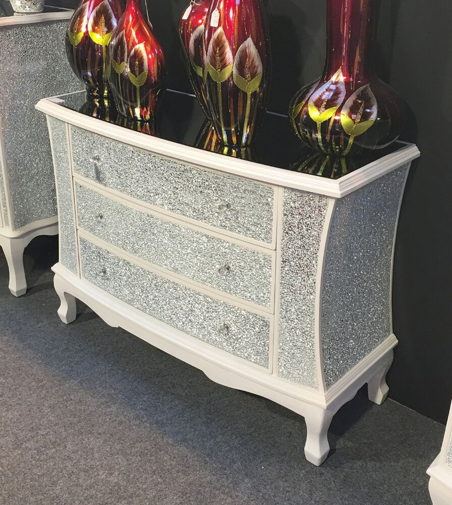 large sparkly white crackle mosaic mirrored glass 3 drawer wide chest of drawers ebay. Black Bedroom Furniture Sets. Home Design Ideas