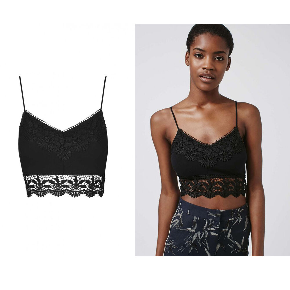d848ff7aa2c80 Details about Topshop Black Crochet Bralet Lace Trim Fashion Sleeveless  Cropped Crop Top