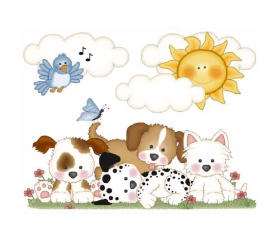 Puppy Nursery Decor Mural Decal Wall Art Dog Stickers Baby