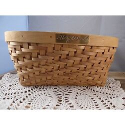HARRY & DAVID BASKET/ LIGHT BROWN - OVAL/ WOVEN BASKET   CUT OUTS FOR HANDLES