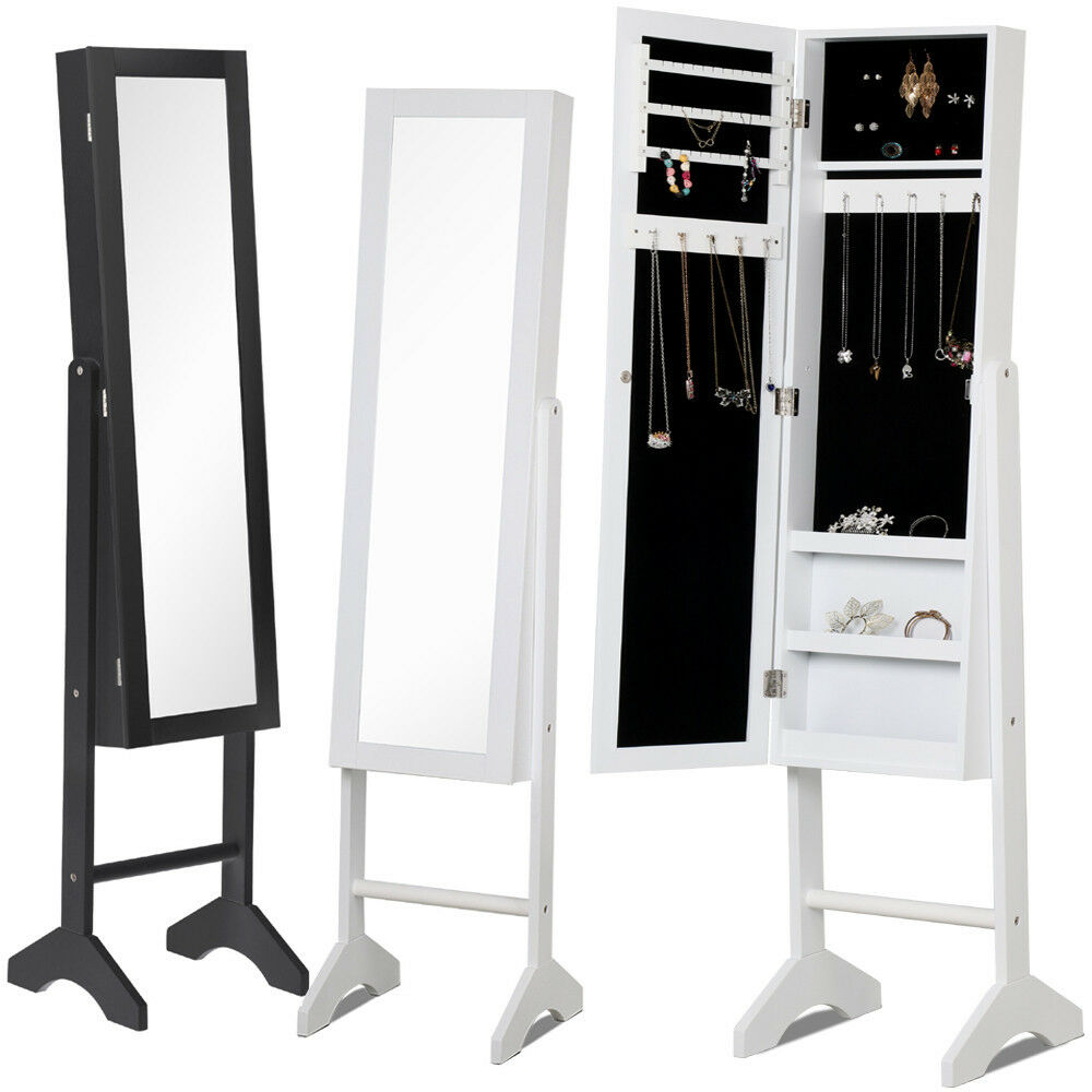 Lockable mirrored jewelry cabinet armoire mirror organizer for Mirror jewelry storage