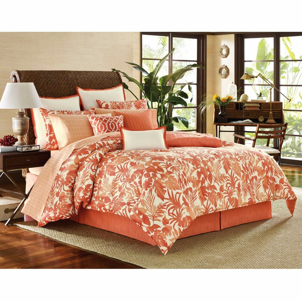 3 Pc Tommy Bahama Palma Sola Full Queen Duvet Set Coral