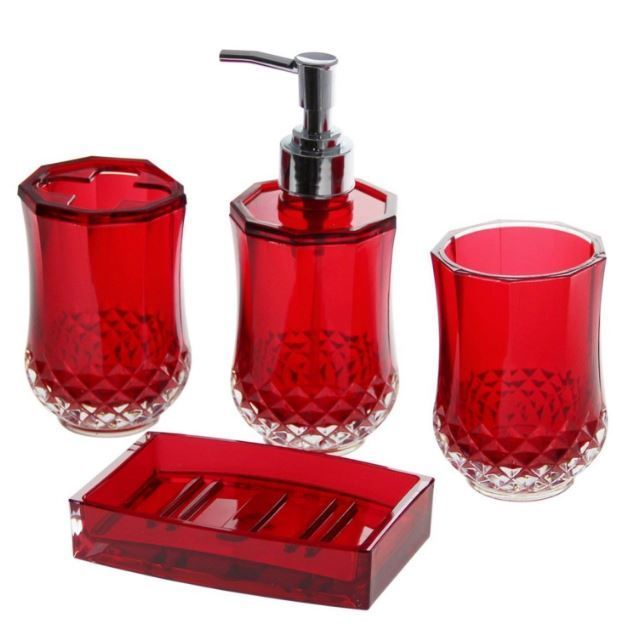 4 piece bathroom accessory soap dispenser dish for Bathroom holder sets