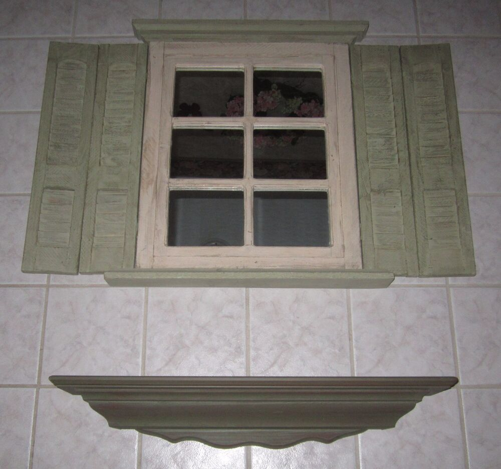 Vintage Window Mirror With Shutters Wall Hanging Home