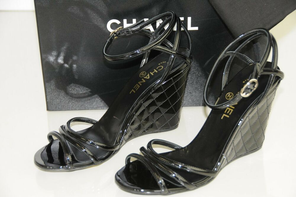 05ffcecbdf735c Details about New Chanel Black Patent Quilted Wedge CC Logo Strappy Sandals  Shoes 40 9.5 Bag