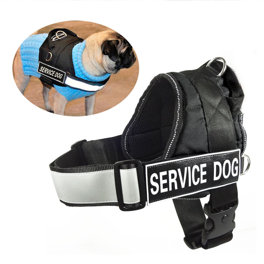 Reflective Service Dog Harness Vest Coat With Removable