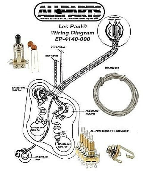 wiring kit for gibson 174 les paul complete w diagram cts pots switchcraft switch ebay