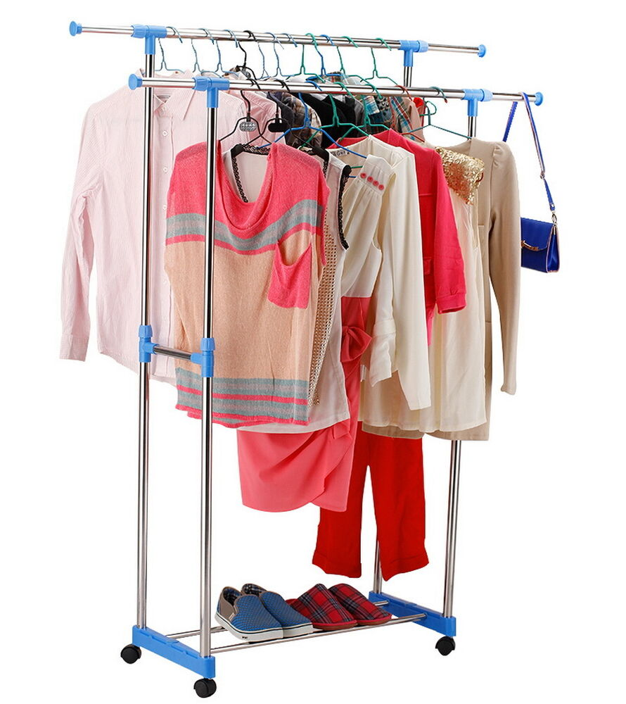 single double adjustable portable clothes hanger rolling garment rack duty railh ebay. Black Bedroom Furniture Sets. Home Design Ideas