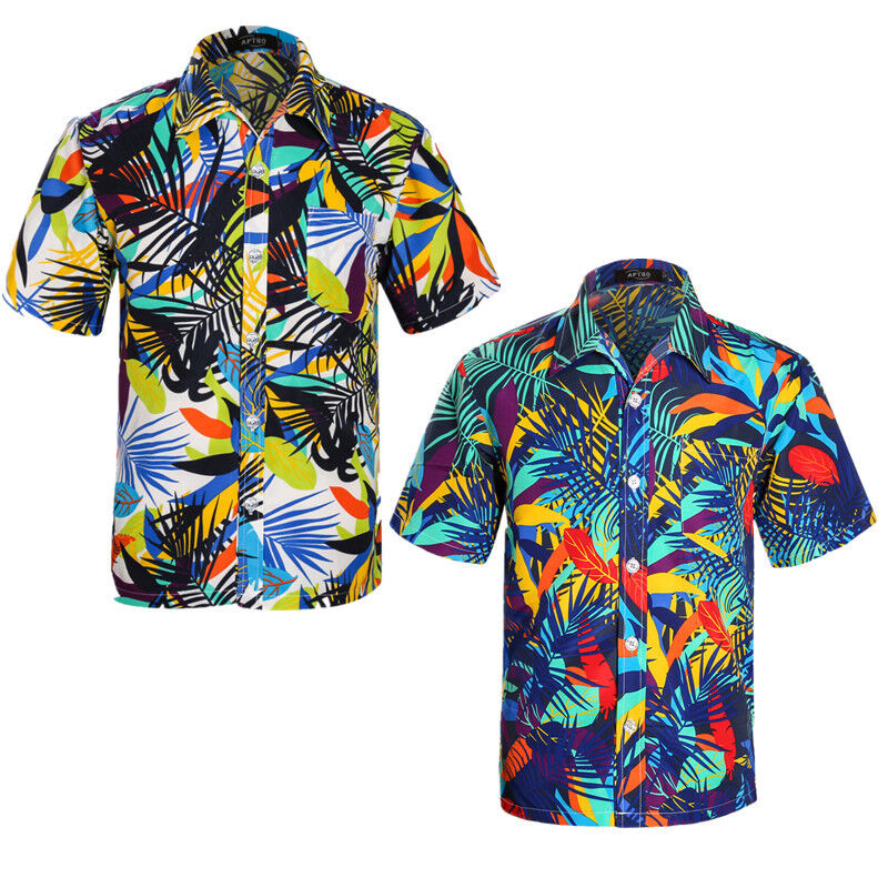 Men tropical hawaiian shirt short sleeve beach party surf for Mens slim hawaiian shirt