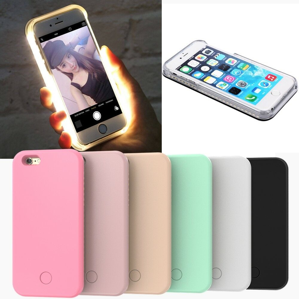 led licht handy h lle selfie tasche schutz schale f r iphone 5 5s se 6 6s 7 plus ebay. Black Bedroom Furniture Sets. Home Design Ideas