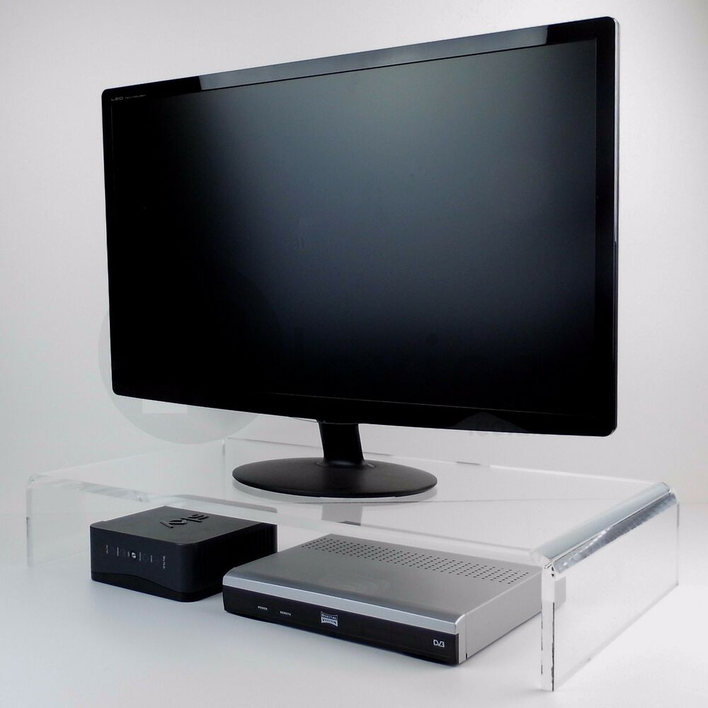 acrylic tv riser pc monitor riser lcd tv display stand. Black Bedroom Furniture Sets. Home Design Ideas