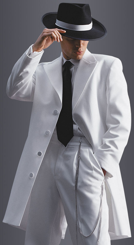 White Zoot Suit Tuxedo Long Duster Frock Gangster Prom Coat Pachucos Dance Tux | eBay