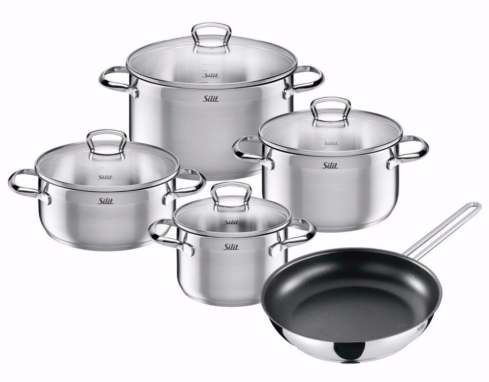 wmf silit 9 piece toskana 18 10 stainless steel cookware set ebay. Black Bedroom Furniture Sets. Home Design Ideas