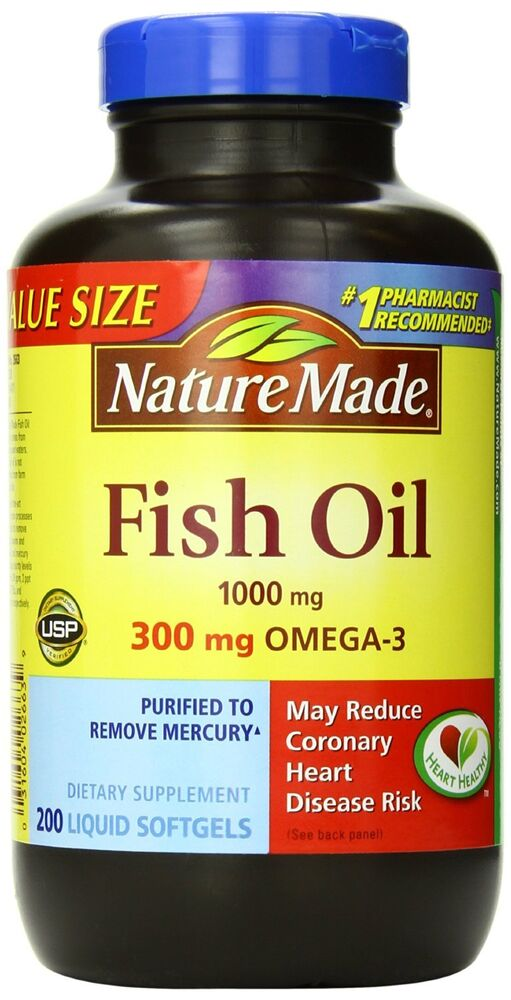 Nature made fish oil 1000 mg value size softgels 200 count for Fish oil capsules side effects