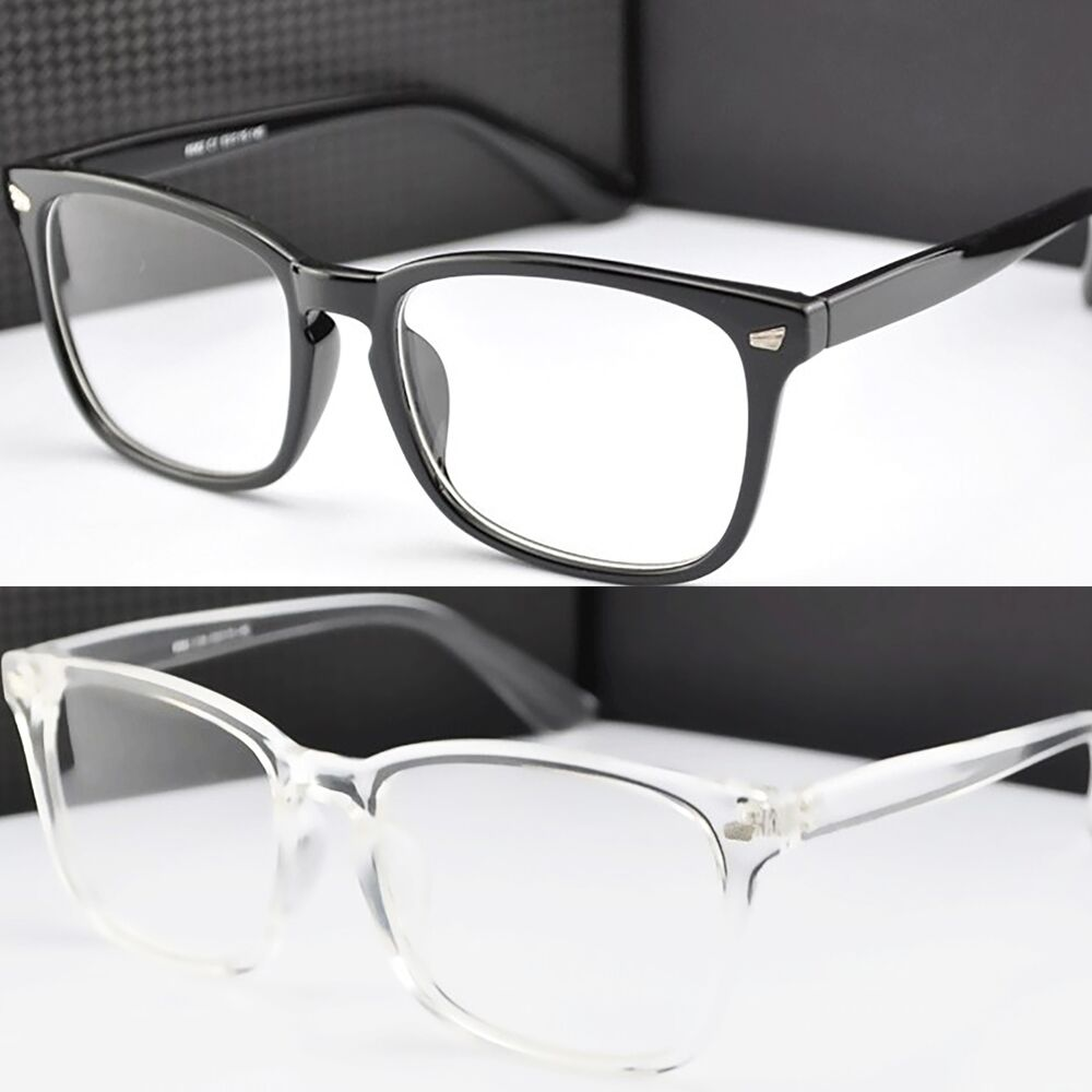 Square Framed Fashion Glasses : Black Acrylic Square Frame Clear Lens Fashion Glasses ...