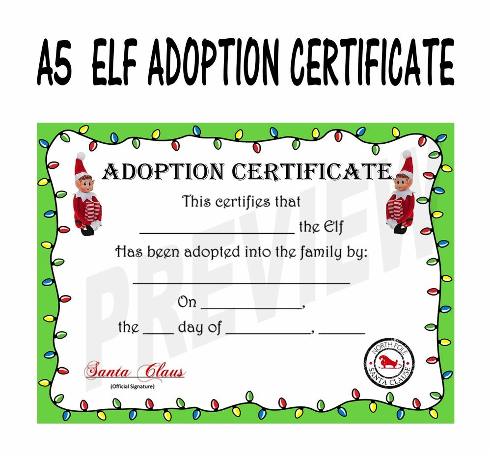 elf adoption certificate template - christmas elf adoption certificate ebay