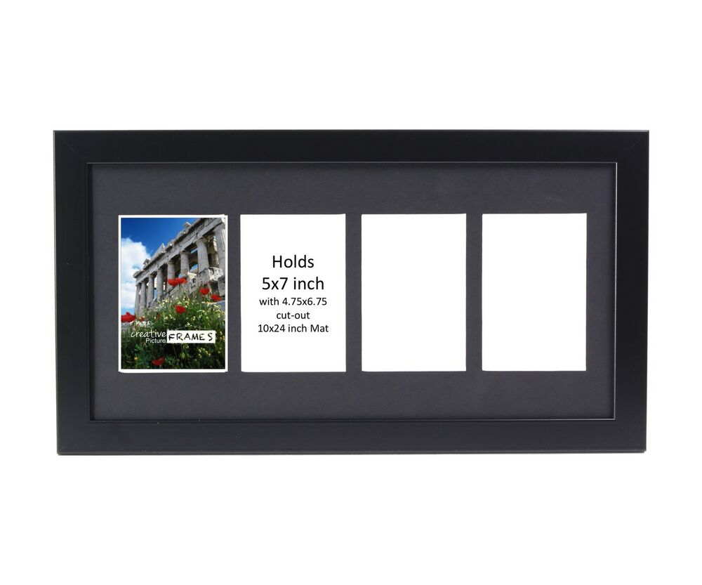 Creativepf 4 Opening Multi 5x7 Black Picture Frame W