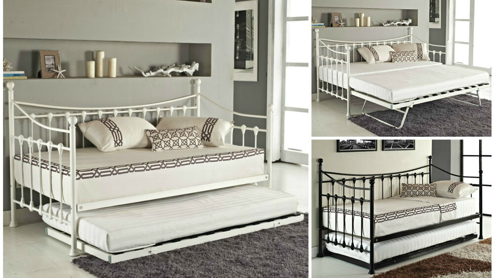 Day Bed And With Trundle Mattress Option Black White Metal
