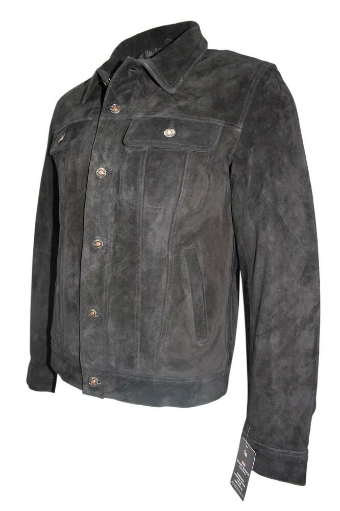 Trucker Men 39 S Jacket Genuine Black Suede Leather Classic