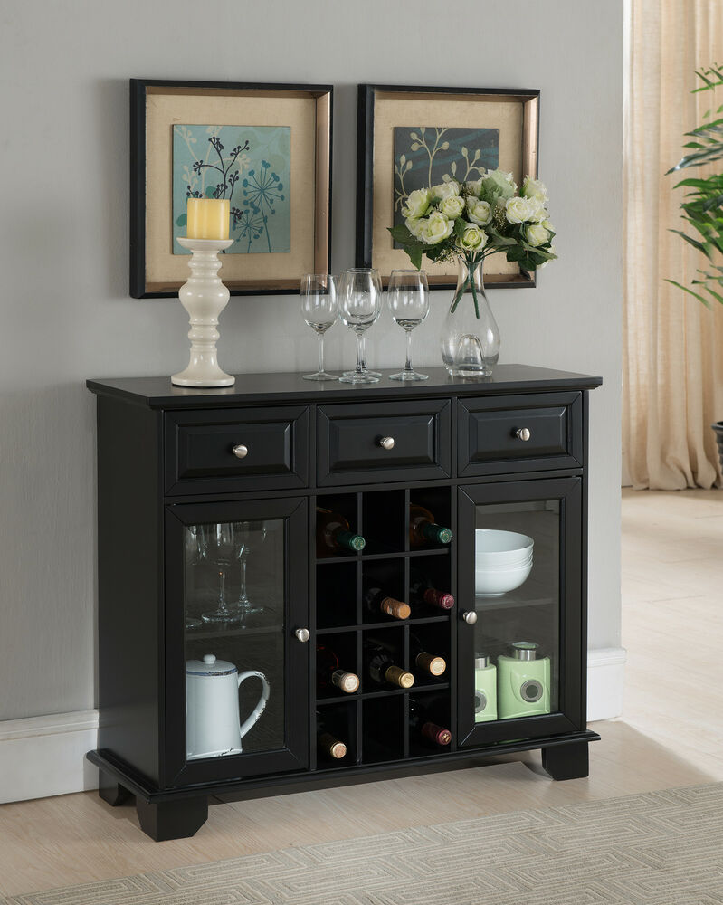 Kings Brand Buffet Server Sideboard Cabinet With Wine Storage Black Finish New Ebay