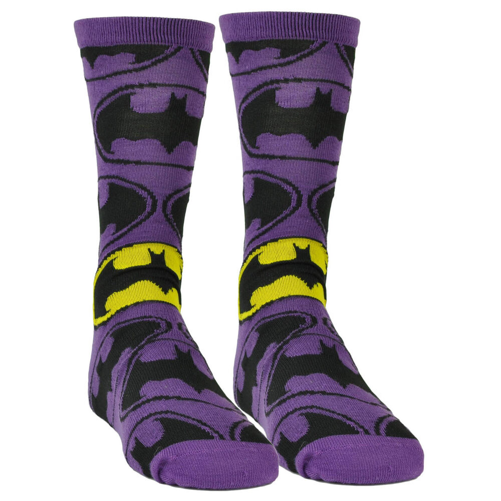 Our Batman socks are officially licensed, Batman-branded foot warmers adorned with all manner of Batman symbols, images, and indicia. Yes, if you're sick and tired of exposing your feet to the Batcave's ridiculously cold floor, a pair of soft, warm, and stretchy Batman socks should help mitigate symptoms of debilitating foot freeze.