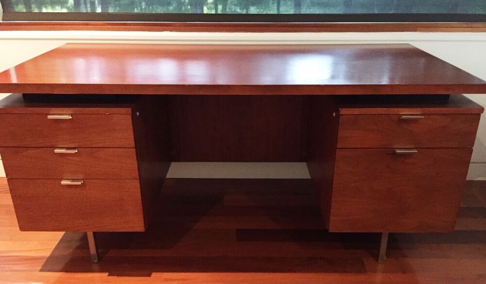 George Nelson Executive Desk Vintage 1950s Walnut Herman