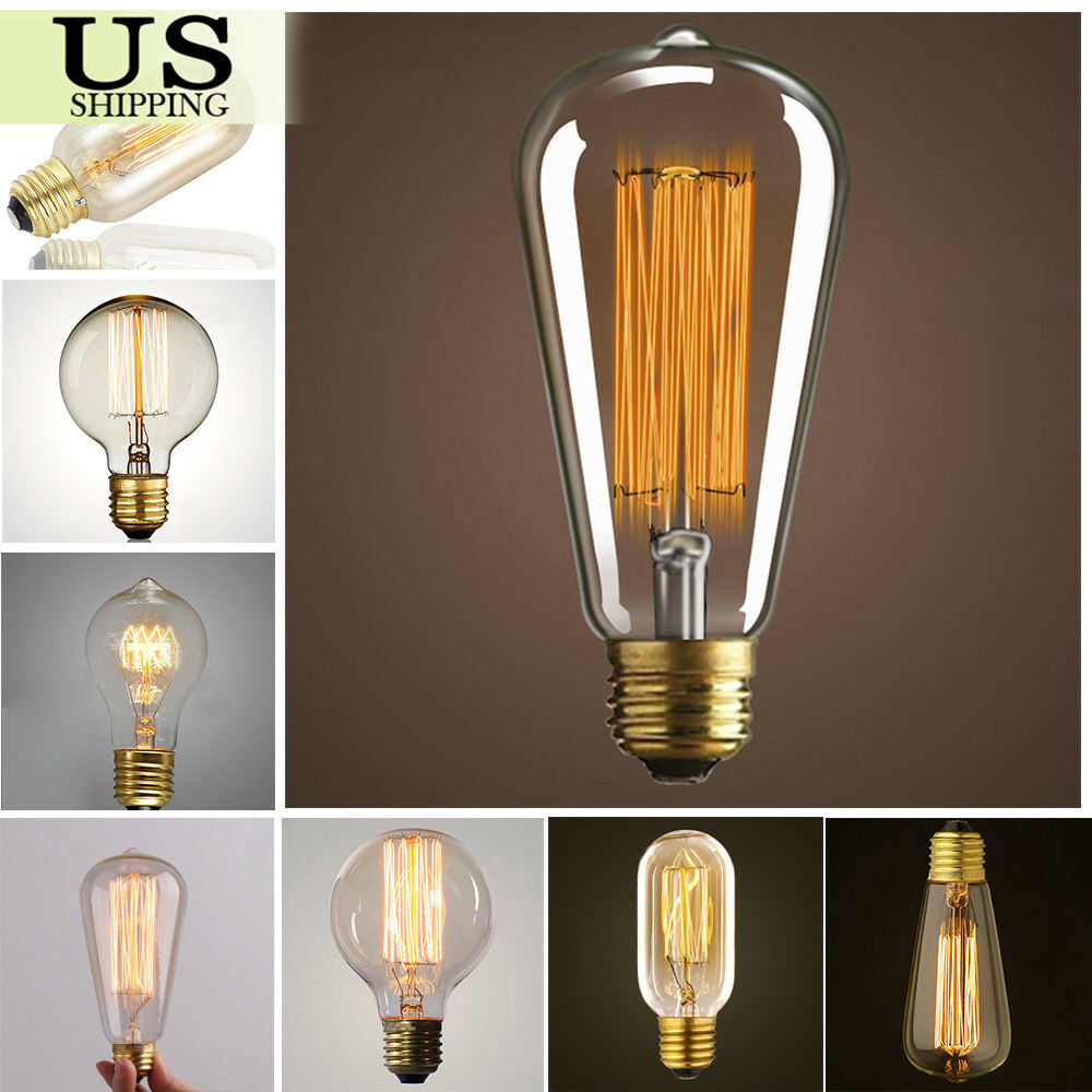 Buy B22 St64 110v 220v 40w Vintage Edison Style Filament: 110V 40W 60W Filament Light Bulbs Vintage Retro Industrial