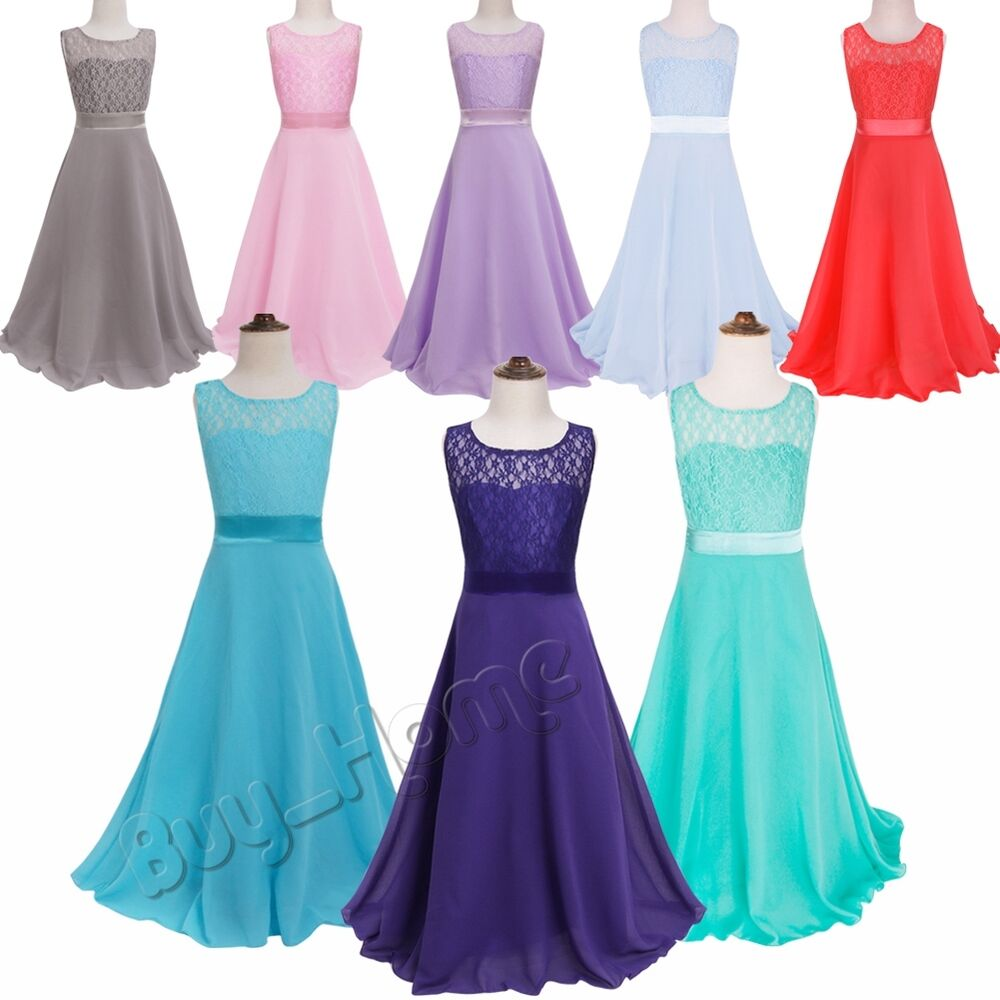 Kids Lace Flower Girls Maxi Dresses Wedding Party
