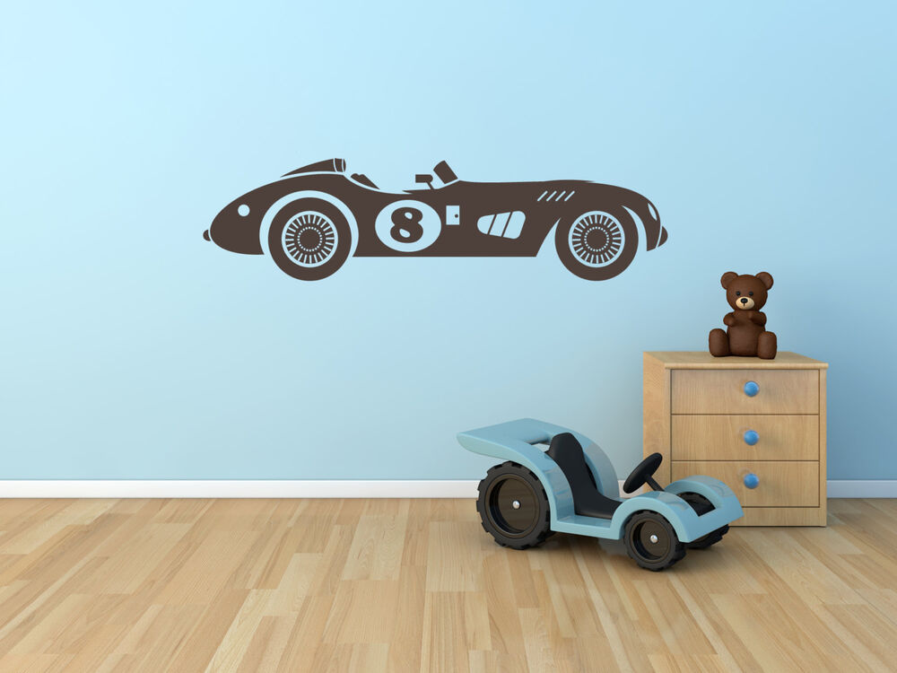 Vintage race car wall decal boys childs room vinyl sticker for Stickers para decorar paredes infantiles
