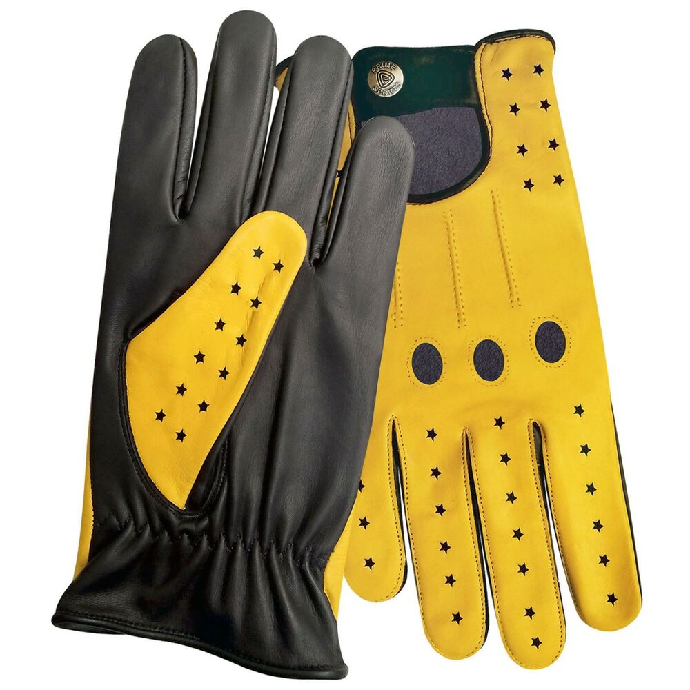 Yellow leather driving gloves - Men 039 S Top Quality Real Soft Leather Driving Gloves Black With Yellow Star 507 Ebay