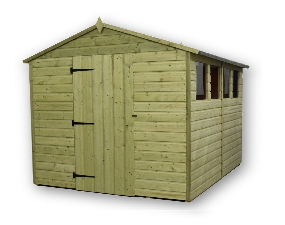 Garden shed 8x8 shiplap apex roof tanalised pressure for Garden shed 8x8